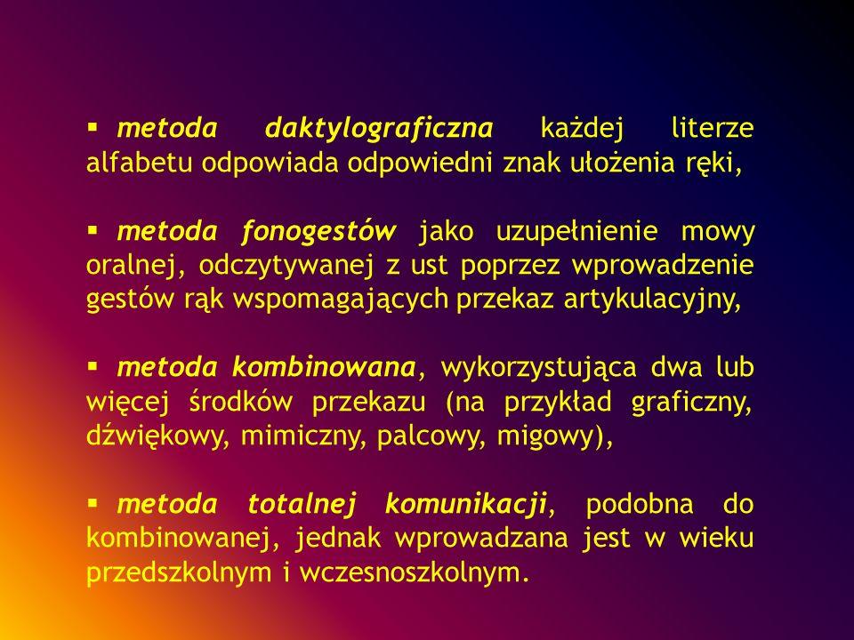metoda daktylograficzna każdej literze alfabetu odpowiada odpowiedni znak ułożenia ręki, metoda fonogestów jako uzupełnienie mowy oralnej, odczytywane