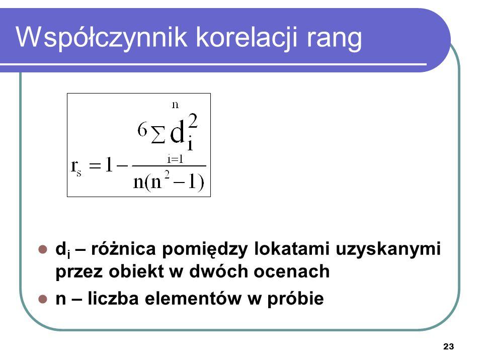 Współczynnik korelacji rang d i – różnica pomiędzy lokatami uzyskanymi przez obiekt w dwóch ocenach n – liczba elementów w próbie 23