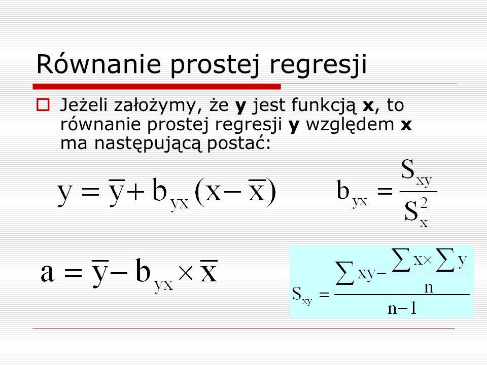 Równanie prostej regresji Jeżeli założymy, że y jest funkcją x, to równanie prostej regresji y względem x ma następującą postać: