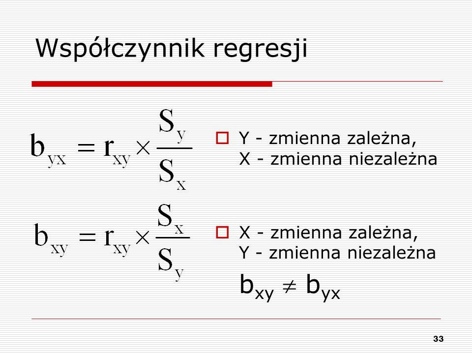 33 Współczynnik regresji Y - zmienna zależna, X - zmienna niezależna X - zmienna zależna, Y - zmienna niezależna b xy b yx
