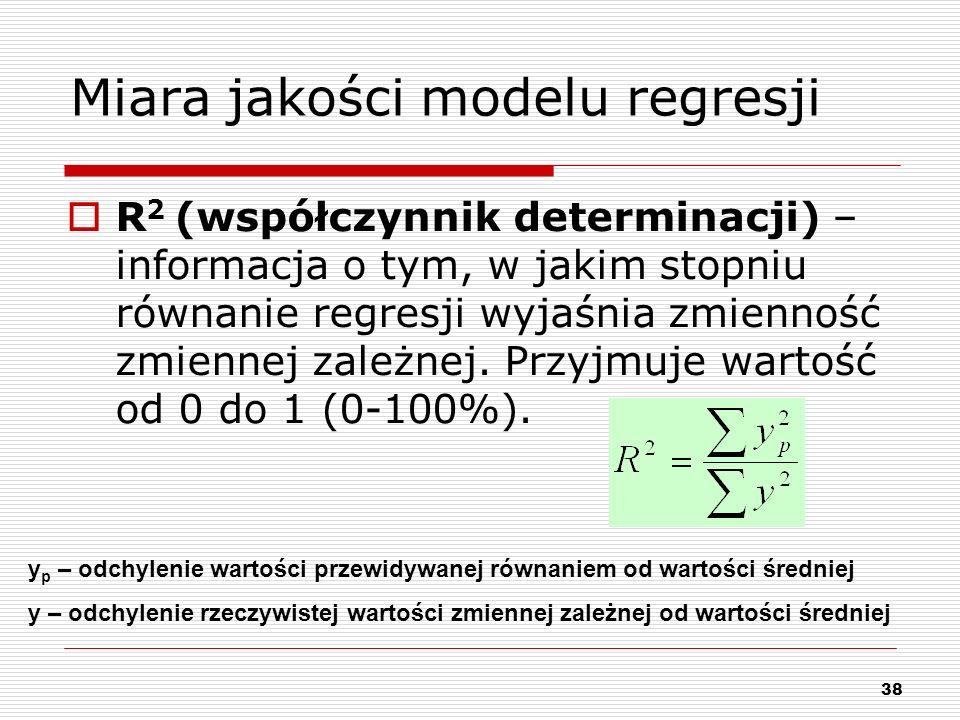38 Miara jakości modelu regresji R 2 (współczynnik determinacji) – informacja o tym, w jakim stopniu równanie regresji wyjaśnia zmienność zmiennej zal