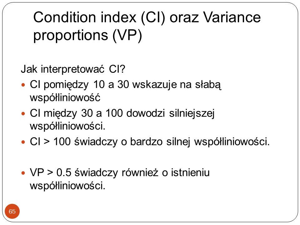Condition index (CI) oraz Variance proportions (VP) 65 Jak interpretować CI? CI pomiędzy 10 a 30 wskazuje na słabą współliniowość CI między 30 a 100 d