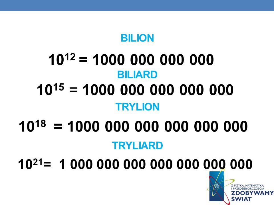 BILION 10 12 = 1000 000 000 000 BILIARD 10 15 = 1000 000 000 000 000 TRYLION 10 18 = 1000 000 000 000 000 000 TRYLIARD 10 21 = 1 000 000 000 000 000 0