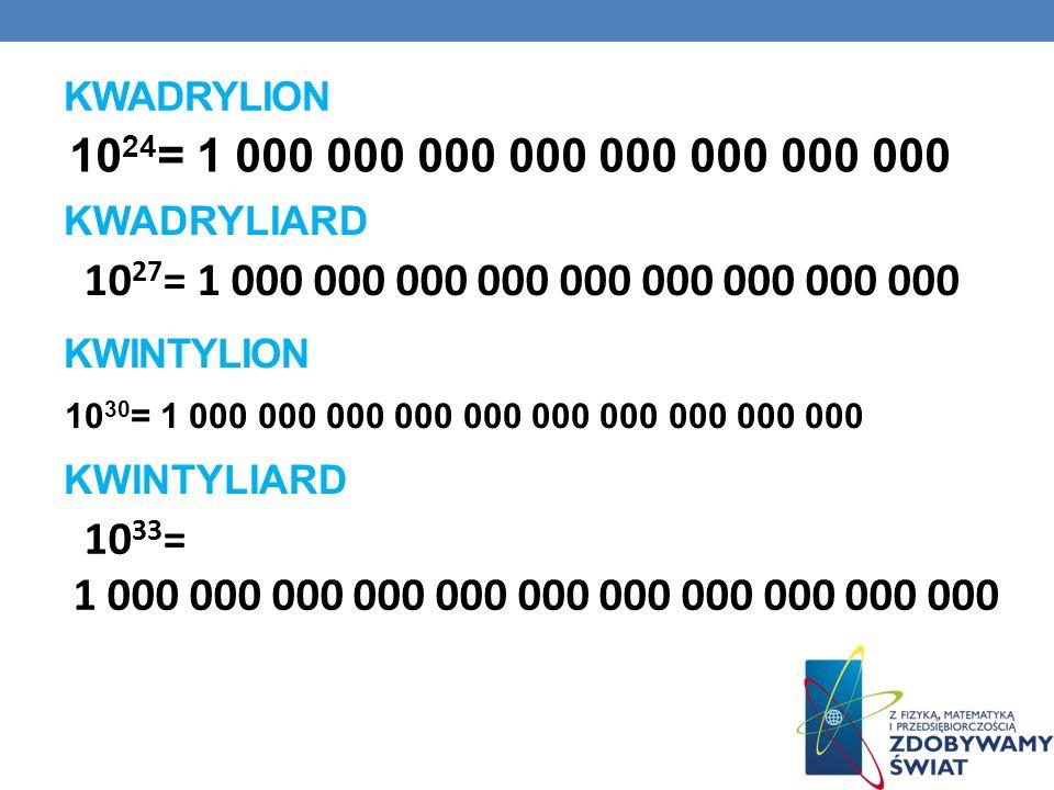KWADRYLION 10 24 = 1 000 000 000 000 000 000 000 000 10 27 = 1 000 000 000 000 000 000 000 000 000 KWADRYLIARD KWINTYLION 10 30 = 1 000 000 000 000 00