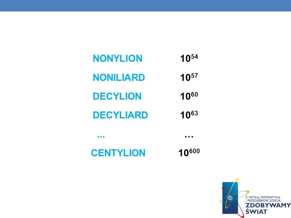 NONYLION 10 54 NONILIARD10 57 DECYLION 10 60 DECYLIARD10 63... … CENTYLION10 600
