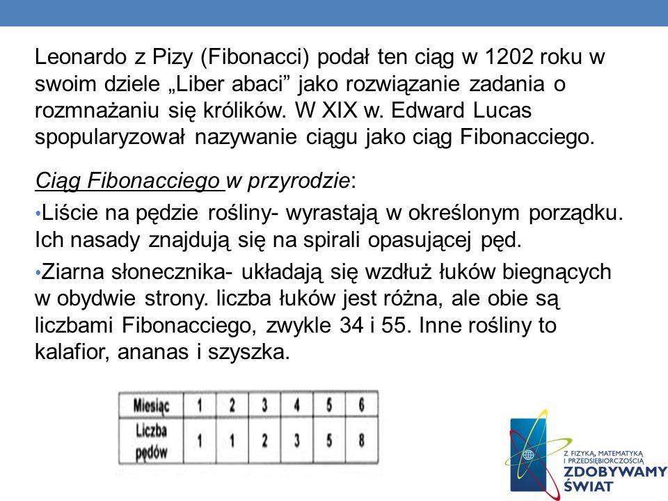 Leonardo z Pizy (Fibonacci) podał ten ciąg w 1202 roku w swoim dziele Liber abaci jako rozwiązanie zadania o rozmnażaniu się królików. W XIX w. Edward