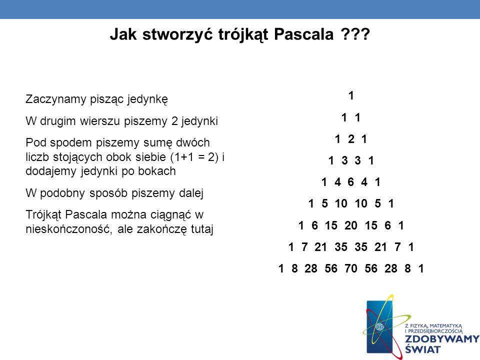 1 1 1 2 1 1 3 3 1 1 4 6 4 1 1 5 10 10 5 1 1 6 15 20 15 6 1 1 7 21 35 35 21 7 1 1 8 28 56 70 56 28 8 1 Jak stworzyć trójkąt Pascala ??? Zaczynamy piszą