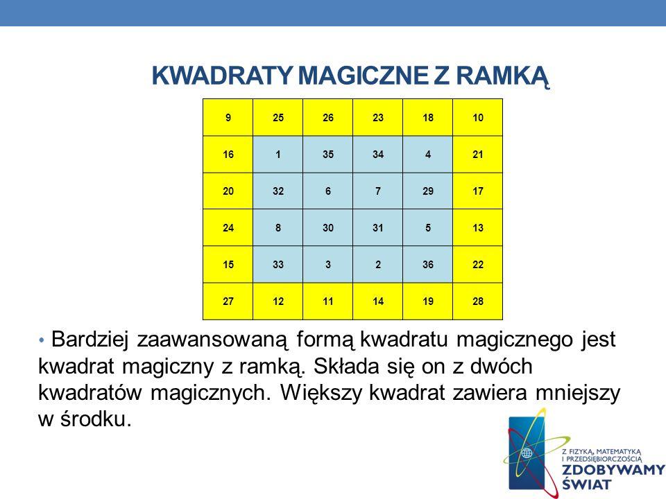 KWADRATY MAGICZNE Z RAMKĄ 92526231810 1613534421 2032672917 2483031513 1533323622 271211141928 Bardziej zaawansowaną formą kwadratu magicznego jest kw