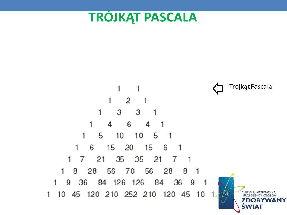 TRÓJKĄT PASCALA To układ liczb, który pozwala rozwiązać mnóstwo morderczych problemów. Ma również zastosowanie w probabilistyce. Trójkąt Pascala
