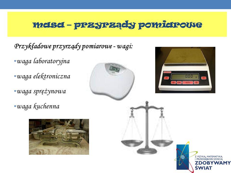 Przykładowe przyrządy pomiarowe - wagi: waga laboratoryjna waga elektroniczna waga sprężynowa waga kuchenna masa – przyrz ą dy pomiarowe