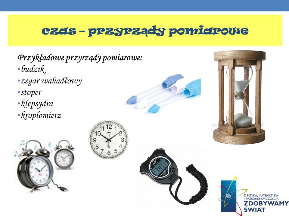 Przykładowe przyrządy pomiarowe: budzik zegar wahadłowy stoper klepsydra kroplomierz czas – przyrz ą dy pomiarowe