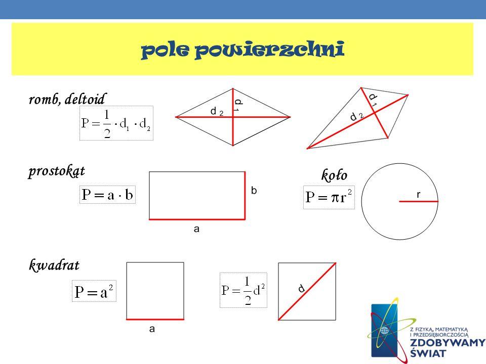 romb, deltoid prostokąt kwadrat pole powierzchni koło