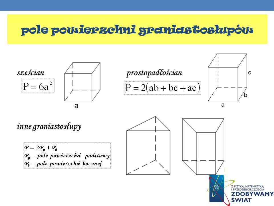 pole powierzchni graniastosłupów sześcianprostopadłościan inne graniastosłupy