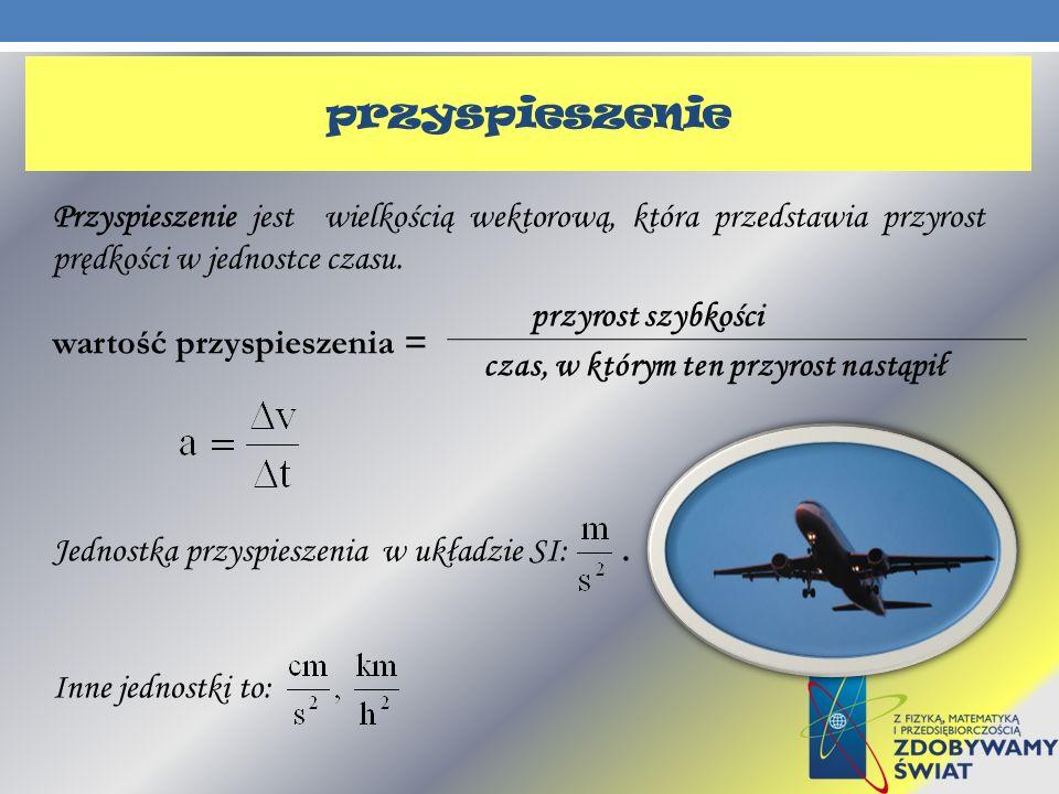 Przyspieszenie jest wielkością wektorową, która przedstawia przyrost prędkości w jednostce czasu. wartość przyspieszenia = Jednostka przyspieszenia w