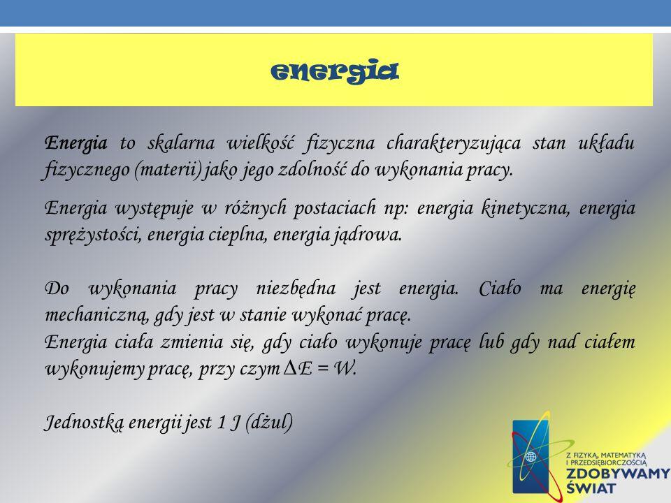 Energia to skalarna wielkość fizyczna charakteryzująca stan układu fizycznego (materii) jako jego zdolność do wykonania pracy. Energia występuje w róż