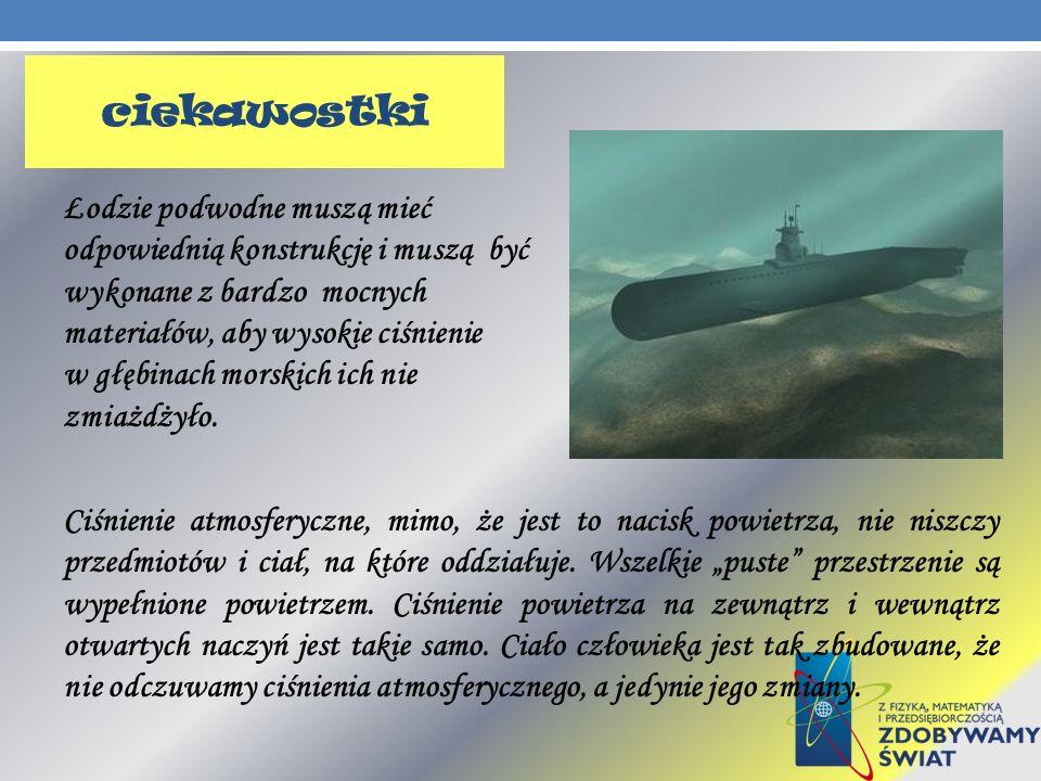 Łodzie podwodne muszą mieć odpowiednią konstrukcję i muszą być wykonane z bardzo mocnych materiałów, aby wysokie ciśnienie w głębinach morskich ich ni