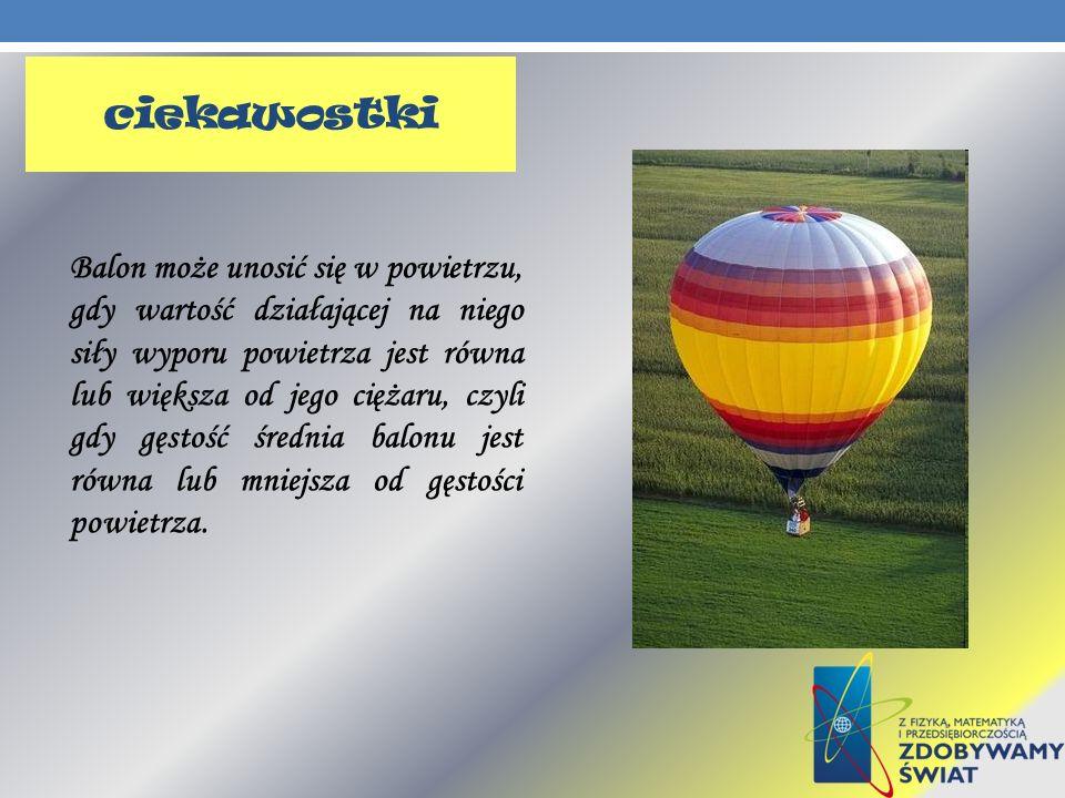 Balon może unosić się w powietrzu, gdy wartość działającej na niego siły wyporu powietrza jest równa lub większa od jego ciężaru, czyli gdy gęstość śr