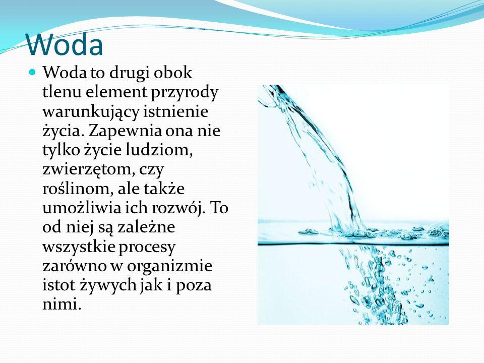 Woda Woda to drugi obok tlenu element przyrody warunkujący istnienie życia. Zapewnia ona nie tylko życie ludziom, zwierzętom, czy roślinom, ale także