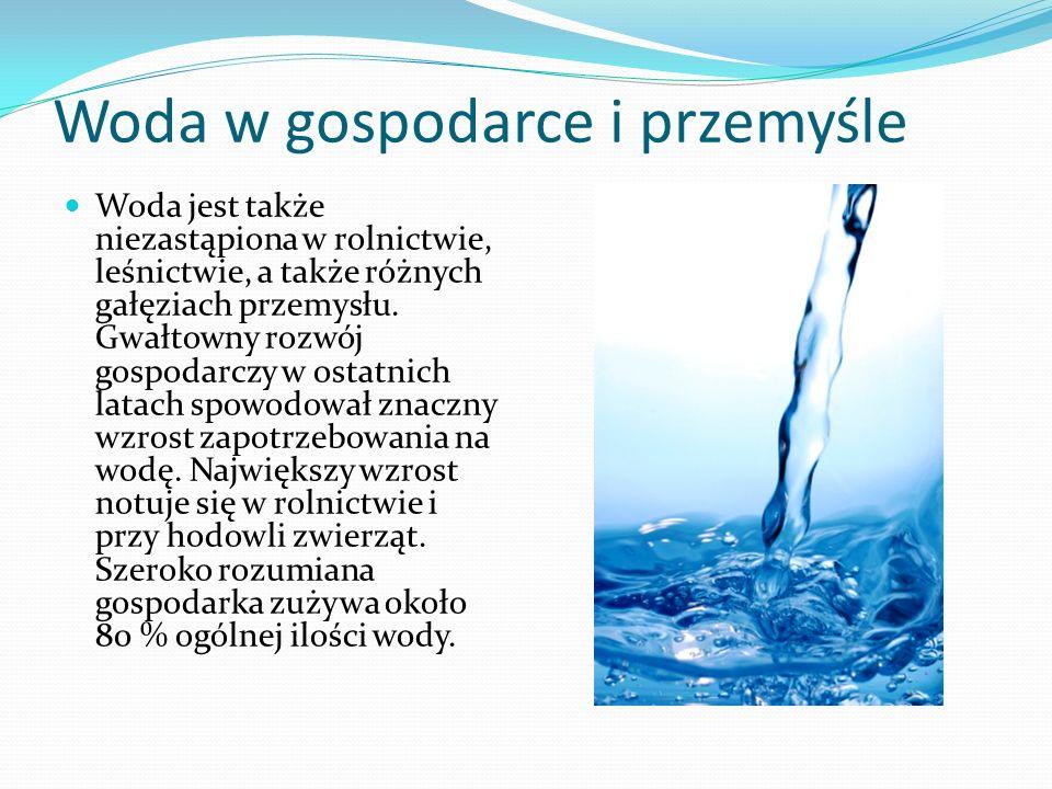 Woda w gospodarce i przemyśle Woda jest także niezastąpiona w rolnictwie, leśnictwie, a także różnych gałęziach przemysłu. Gwałtowny rozwój gospodarcz