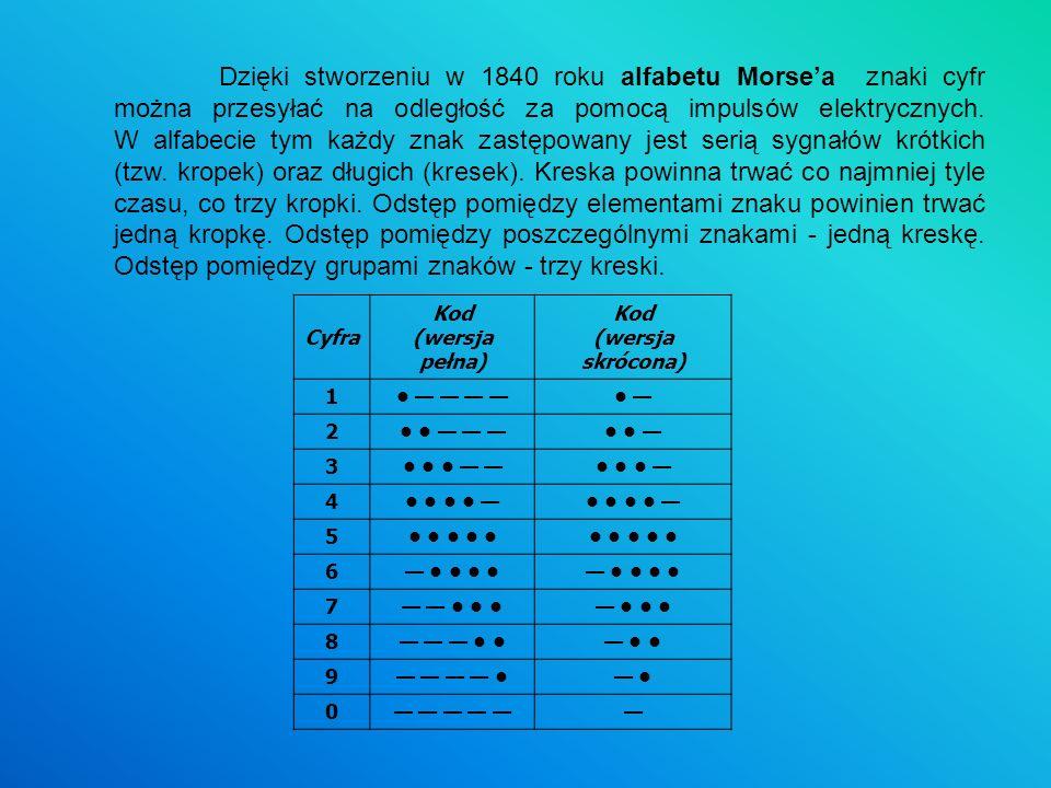 Dzięki stworzeniu w 1840 roku alfabetu Morsea znaki cyfr można przesyłać na odległość za pomocą impulsów elektrycznych. W alfabecie tym każdy znak zas