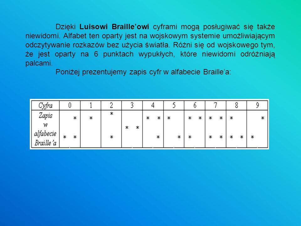 Dzięki Luisowi Brailleowi cyframi mogą posługiwać się także niewidomi. Alfabet ten oparty jest na wojskowym systemie umożliwiającym odczytywanie rozka