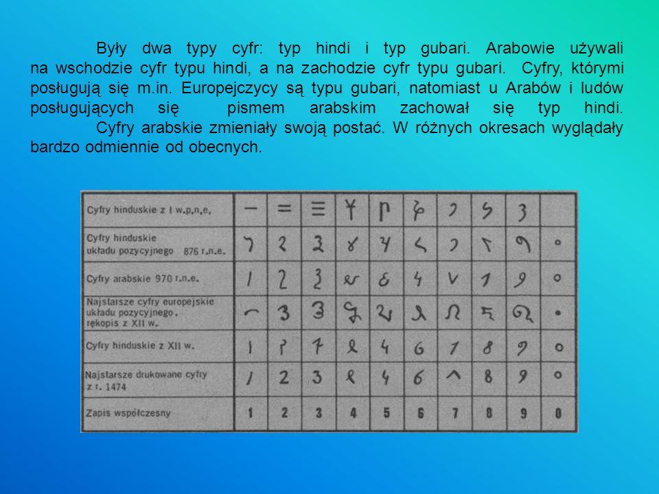 Były dwa typy cyfr: typ hindi i typ gubari. Arabowie używali na wschodzie cyfr typu hindi, a na zachodzie cyfr typu gubari. Cyfry, którymi posługują s