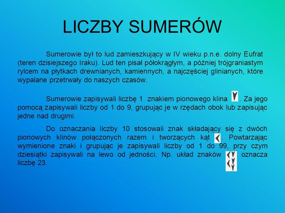 LICZBY SUMERÓW Sumerowie był to lud zamieszkujący w IV wieku p.n.e. dolny Eufrat (teren dzisiejszego Iraku). Lud ten pisał półokrągłym, a później trój