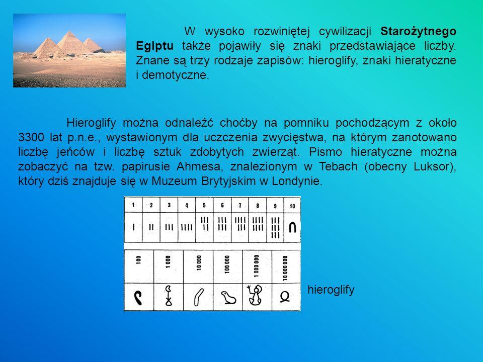 W wysoko rozwiniętej cywilizacji Starożytnego Egiptu także pojawiły się znaki przedstawiające liczby. Znane są trzy rodzaje zapisów: hieroglify, znaki