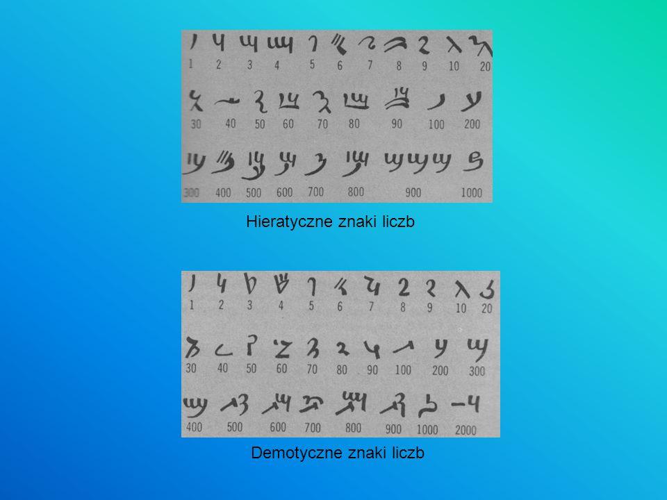 Hieratyczne znaki liczb Demotyczne znaki liczb