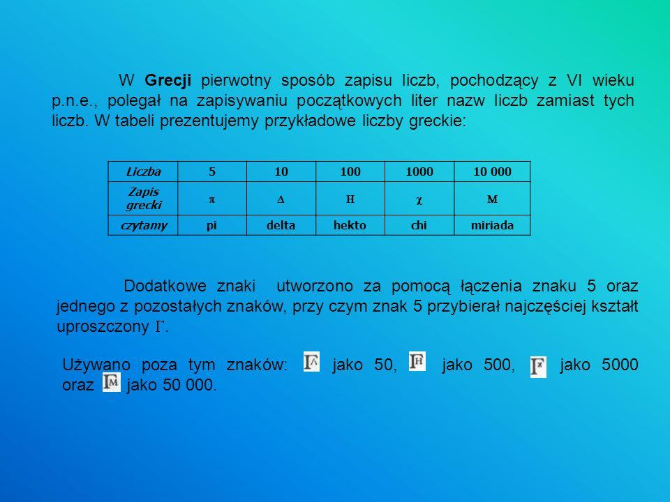 W Grecji pierwotny sposób zapisu liczb, pochodzący z VI wieku p.n.e., polegał na zapisywaniu początkowych liter nazw liczb zamiast tych liczb. W tabel
