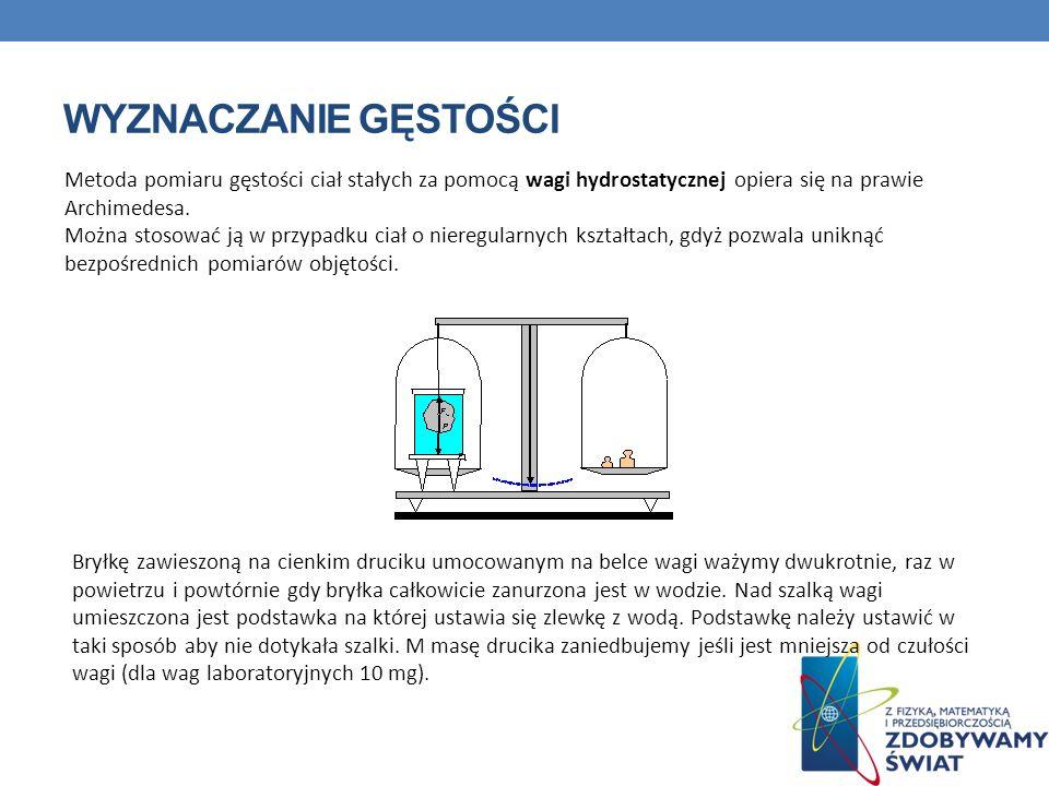 Metoda pomiaru gęstości ciał stałych za pomocą wagi hydrostatycznej opiera się na prawie Archimedesa.