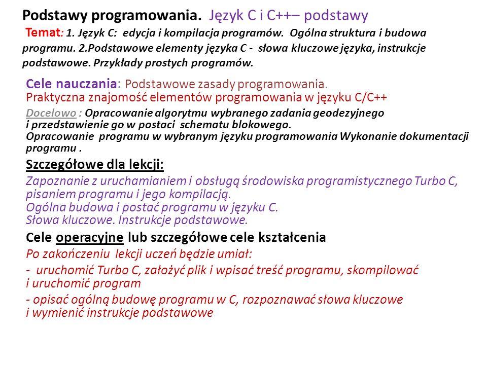 Podstawy programowania. Język C i C++– podstawy Temat : 1. Język C: edycja i kompilacja programów. Ogólna struktura i budowa programu. 2.Podstawowe el