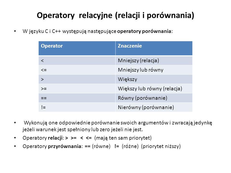 Operatory relacyjne (relacji i porównania) W języku C i C++ występują następujące operatory porównania: Wykonują one odpowiednie porównanie swoich arg