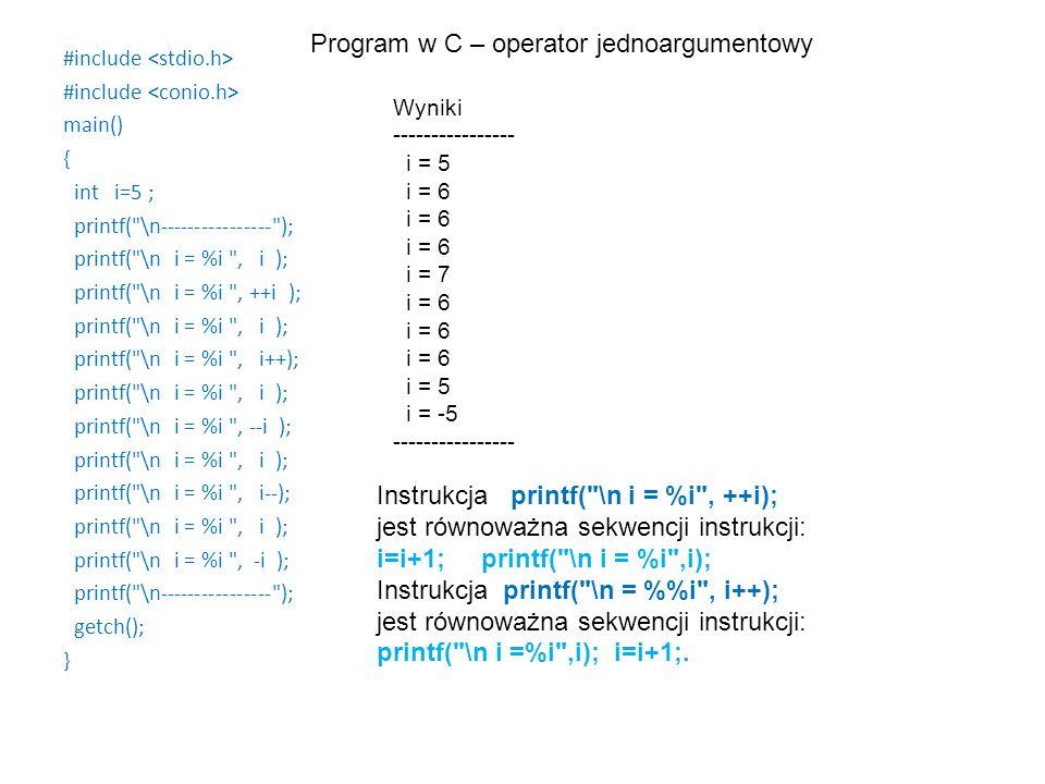 #include main() { int i=5 ; printf(