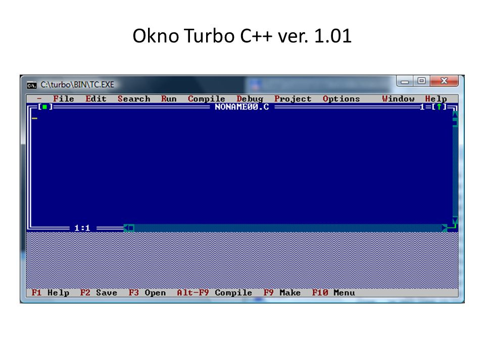Okno Turbo C++ ver. 1.01