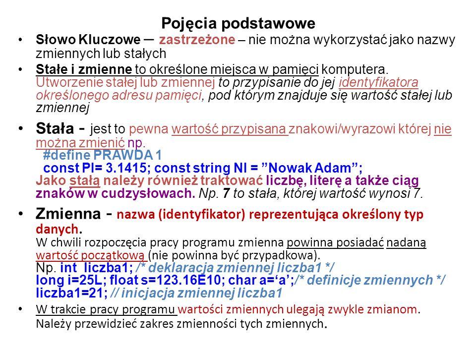 Pojęcia podstawowe Słowo Kluczowe – zastrzeżone – nie można wykorzystać jako nazwy zmiennych lub stałych Stałe i zmienne to określone miejsca w pamięc