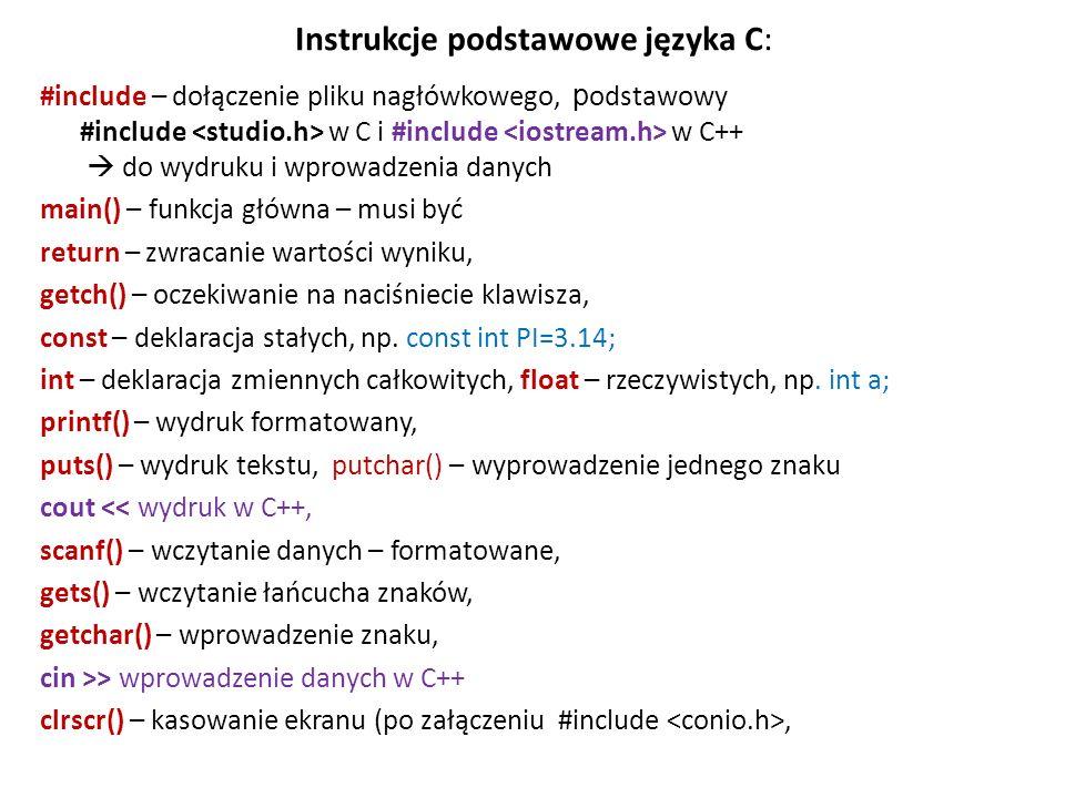 Instrukcje podstawowe języka C: #include – dołączenie pliku nagłówkowego, p odstawowy #include w C i #include w C++ do wydruku i wprowadzenia danych m