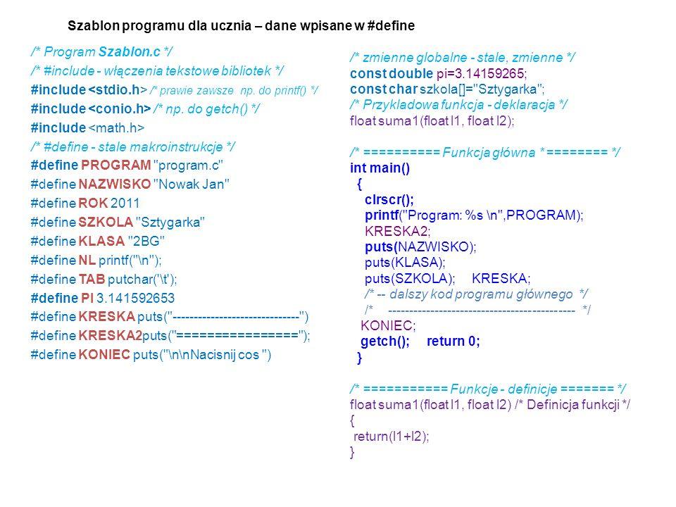 /* Program Szablon.c */ /* #include - włączenia tekstowe bibliotek */ #include /* prawie zawsze np. do printf() */ #include /* np. do getch() */ #incl