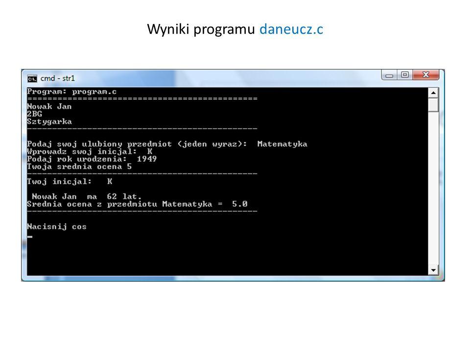 Wyniki programu daneucz.c