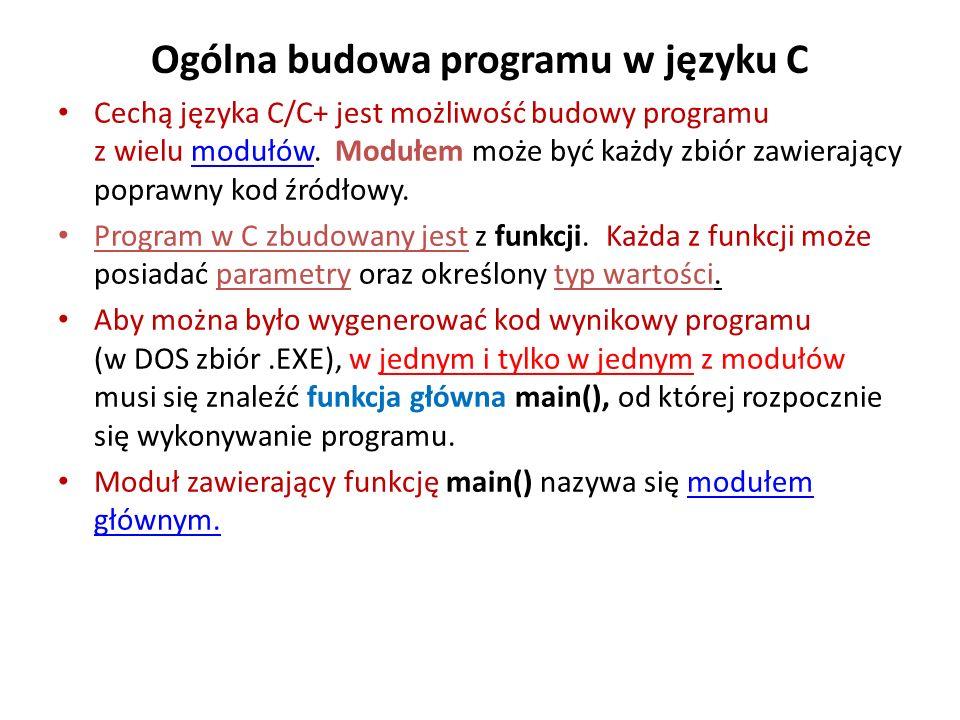 Ogólna budowa programu w języku C Cechą języka C/C+ jest możliwość budowy programu z wielu modułów. Modułem może być każdy zbiór zawierający poprawny