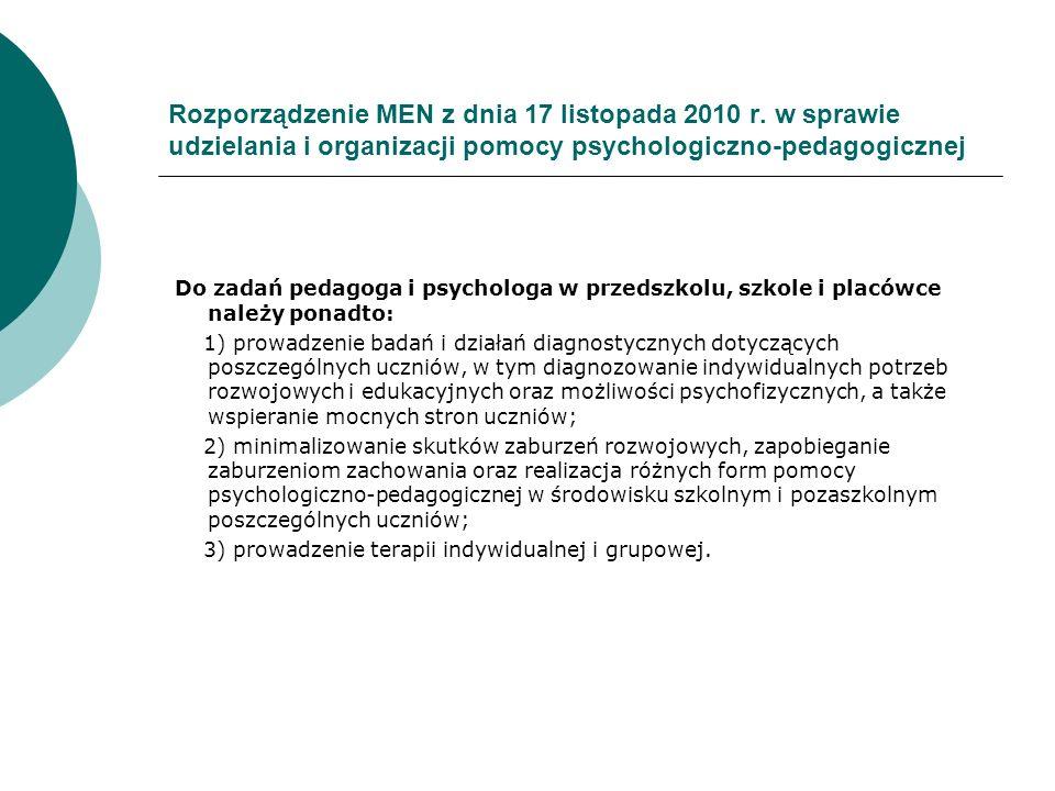 Rozporządzenie MEN z dnia 17 listopada 2010 r. w sprawie udzielania i organizacji pomocy psychologiczno-pedagogicznej Do zadań pedagoga i psychologa w