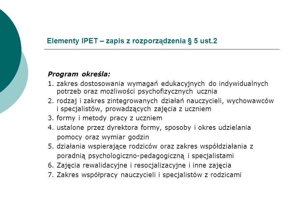 Elementy IPET – zapis z rozporządzenia § 5 ust.2 Program określa: 1. zakres dostosowania wymagań edukacyjnych do indywidualnych potrzeb oraz możliwośc