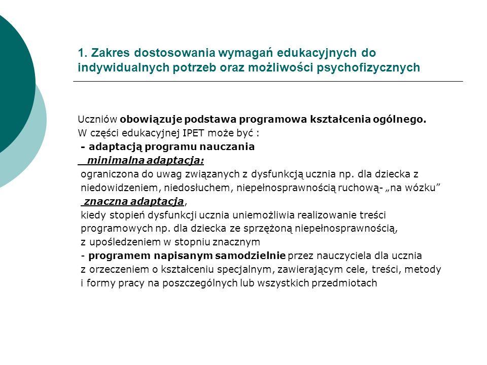 1. Zakres dostosowania wymagań edukacyjnych do indywidualnych potrzeb oraz możliwości psychofizycznych Uczniów obowiązuje podstawa programowa kształce