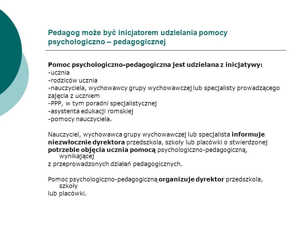 Pedagog może być inicjatorem udzielania pomocy psychologiczno – pedagogicznej Pomoc psychologiczno-pedagogiczna jest udzielana z inicjatywy: -ucznia -