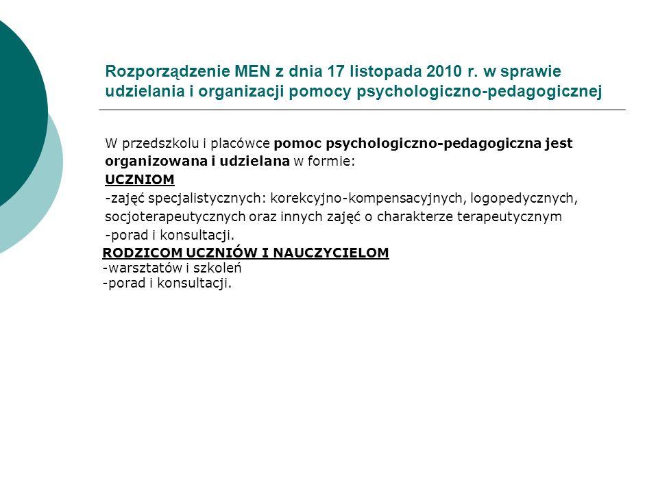 Rozporządzenie MEN z dnia 17 listopada 2010 r. w sprawie udzielania i organizacji pomocy psychologiczno-pedagogicznej W przedszkolu i placówce pomoc p