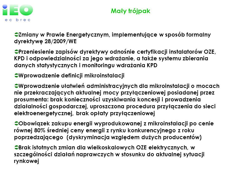 Mały trójpak Zmiany w Prawie Energetycznym, implementujące w sposób formalny dyrektywę 28/2009/WE Przeniesienie zapisów dyrektywy odnośnie certyfikacj