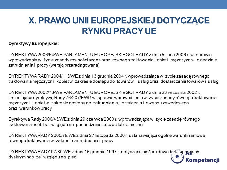 X. PRAWO UNII EUROPEJSKIEJ DOTYCZĄCE RYNKU PRACY UE Dyrektywy Europejskie: DYREKTYWA 2006/54/WE PARLAMENTU EUROPEJSKIEGO I RADY z dnia 5 lipca 2006 r.