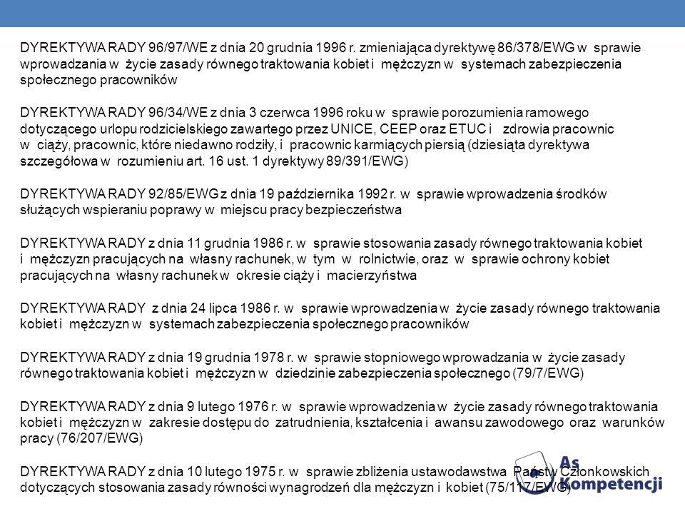 DYREKTYWA RADY 96/97/WE z dnia 20 grudnia 1996 r. zmieniająca dyrektywę 86/378/EWG w sprawie wprowadzania w życie zasady równego traktowania kobiet i