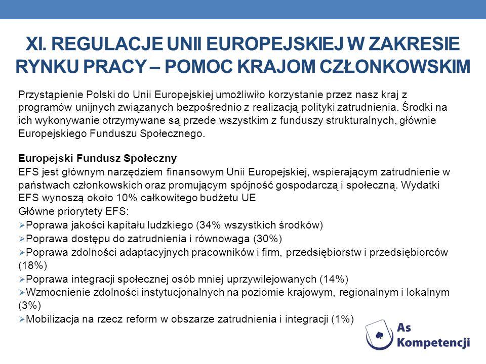 XI. REGULACJE UNII EUROPEJSKIEJ W ZAKRESIE RYNKU PRACY – POMOC KRAJOM CZŁONKOWSKIM Przystąpienie Polski do Unii Europejskiej umożliwiło korzystanie pr