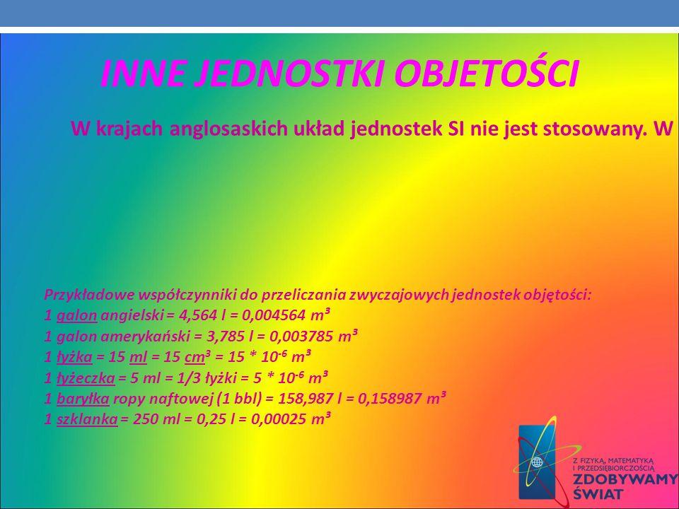 Przykładowe współczynniki do przeliczania zwyczajowych jednostek objętości: 1 galon angielski = 4,564 l = 0,004564 m³ 1 galon amerykański = 3,785 l =